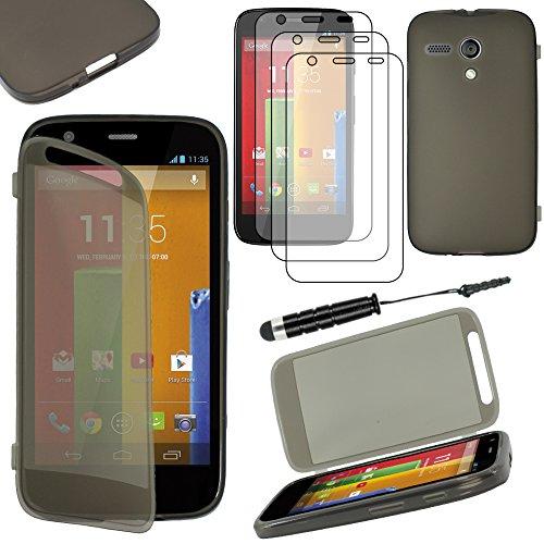 ebestStar - Cover Compatibile con Motorola Moto G, XT1032 Custodia Silicone Portafoglio Gel, Anti Shock AntiGraffio +Mini Penna +3 Pellicole plastica, Nero [Apparecchio:129.9x65.9x11.6mm 4.5']