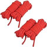 KINJOEK 4 Ropes 10M 32Ft Extra Long Premium Cotton Rope No Fraying Red