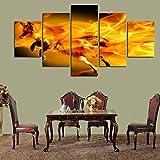DPZDW Impresión de Imagen Modular Pintura al óleo Nuevo Lienzo póster HD Arte 5 Piezas/Set decoración nórdica de Pared de Zorro de Fuego para Sala de Estar