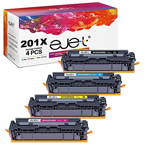 ejet 4er-Pack 201X Kompatibel Tonerkartusche als Ersatz für HP 201X für HP Color Laserjet Pro MFP M277dw M277n M277 M252dw M252n M274n (CF400X-CF401X-CF402X-CF403X)