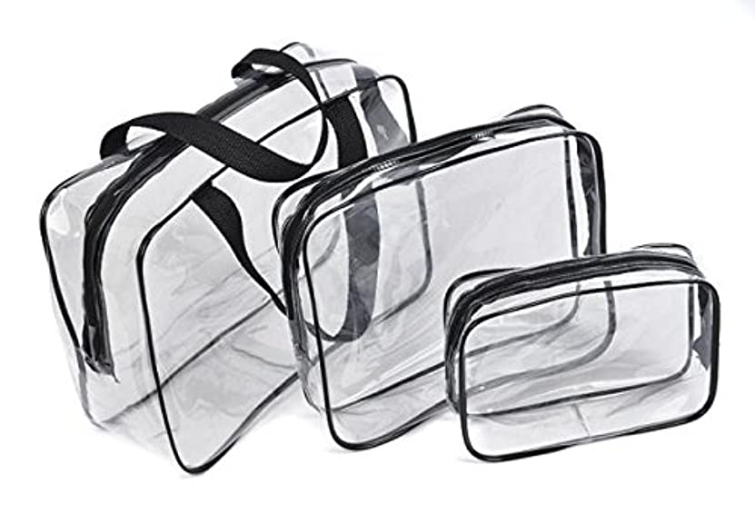 気絶させるのぞき穴有効化Fortan化粧ポーチ 防水 透明 旅行 化粧品 収納バッグ プラスチック メイクボックス コスメポーチ メイクアップポーチ 小物入れ 大容量 携帯し易い 3pcs/セット (黒色)