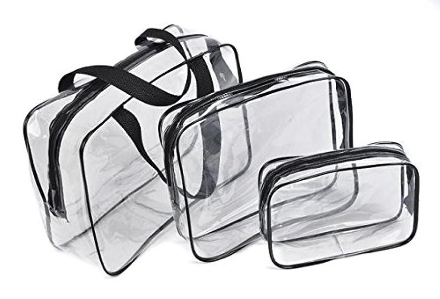 アライメント家族パイプFortan化粧ポーチ 防水 透明 旅行 化粧品 収納バッグ プラスチック メイクボックス コスメポーチ メイクアップポーチ 小物入れ 大容量 携帯し易い 3pcs/セット (黒色)
