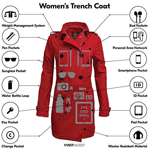 SCOTTeVEST Women's Trench Coat   18 Pockets   Travel & Anti-Pickpocket Clothing