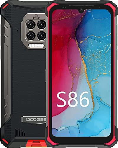 Outdoor Handy, DOOGEE S86 8500mAh Akku 24W Schnellladung Smartphone ohne vertrag 2021, 6GB+128GB Octa-Core 6.1 Zoll 16MP Quad-Kamera Android 10 2W Lautspreche IP68 Wasserdichter Gyroskop NFC Rot
