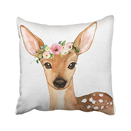 Acelive 16X 16 Inc Zippered Pillow Covers Pillowcases Boho Woodland Deer Baby Girl Nursery Floral Pillow Decorative Throw Pillow Cover Pillow Cases Cushion Cover Gift for Home Sofa Bedroom Couch Car