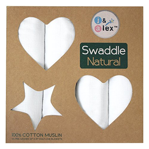 j & alex Hand Dyed 100% Cotton Swaddle Blankets - White, 4 count