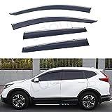 LQQDP 4pcs Smoke Tint With Chrome Trim Outside Mount Tape On/Clip On Style PVC Sun Rain Guard Vent Shade Window Visors Fit 17-20 Honda CRV CR-V