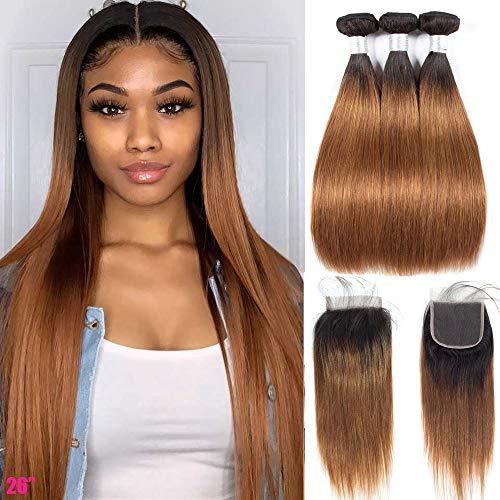 Ombre Brazilian Hair Bundles with Closure - ORANGE STAR Ombre Brazilian Hair Bundles With Pre Plucked Lace Frontal T1b/30 3 bundles Remi Human Hair Weft (10\