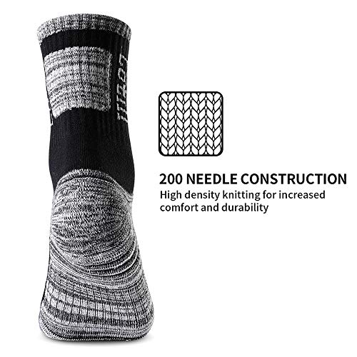 Cotill 5 Pairs Walking Hiking Socks for Men & Women, Performance Wicking Lightweight Breathable Cushion Anti Blister Casual Crew Trekking Athletic Socks for Outdoor Adventures (L/XL)