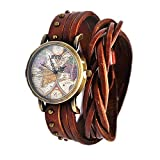 MINILUJIA Bohemian Style Analog Quartz Watch Double Wrap Word Map Women Grils Watch Vintage Retro Casual Leather Watch