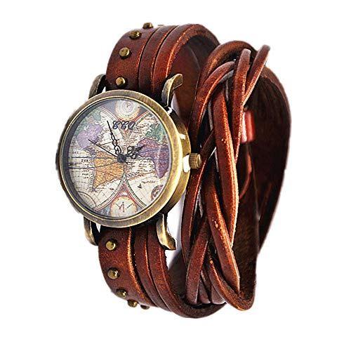 MINILUJIA Bohemian Style Analog Quartz Watch Double Wrap Word Map Women Grils Watch Vintage Retro Casual Leather Watch