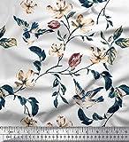Soimoi Weiß Satin Seide Stoff Robin, Blätter & Wildblumen