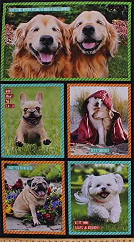 23.5' X 44' Panel Dogs Photos Animals Golden Retriever French Bull Dog Pug Doggy Pets Words Quotes Summer Kids I Ruv You Digital Cotton Fabric Panel (AVT-17299-287-SWEET)