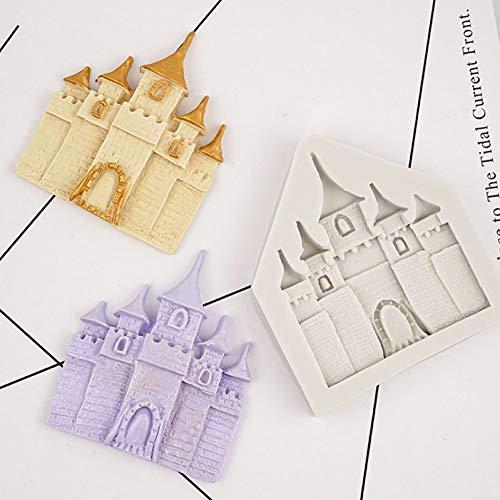QMGLBG Princesse château Silicone Moule Fondant Moule gâteau décoration Outils Chocolat Gumpaste Moule, Accessoires de Cuisine