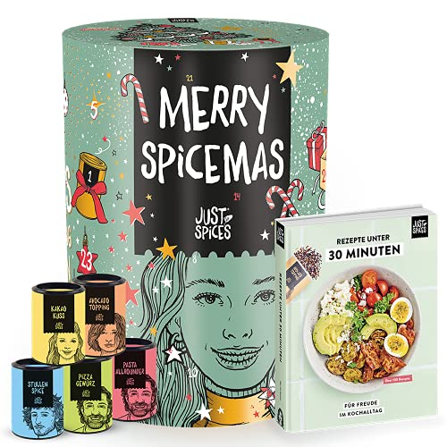 Just Spices Gewürz Adventskalender 2021 I Weihnachtskalender mit 24 Gewürzmischungen + brandneues Kochbuch I Hochwertige Gewürze als Geschenk für Männer und Frauen I insgesamt 4,5 kg