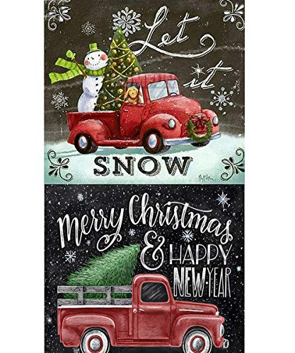 2 Packs 5D Christmas Diamond Paint by Number Kits, Benbo 11.8x11.8In Full Drill Snowman Car DIY Rhinestone Painting Embroidery Arts Crafts Cross Stitch for Adults Kids