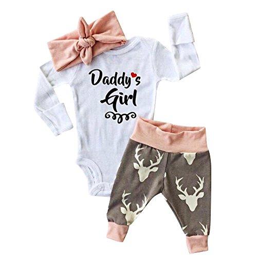 Babykleidung Loveso Sommerkleider Herbst Kleidung Daddy's Girl Elk Elch Muster Baby Mädchen Haarband Top Hosen Set Langarm Shirt (0-24 M) (6M, Weiß)
