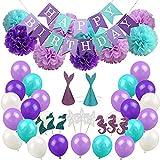 thematys Happy Birthday Set de Decoración de Sirenas - Globos, Guirnaldas y Sombreros de Fiesta cumpleaños