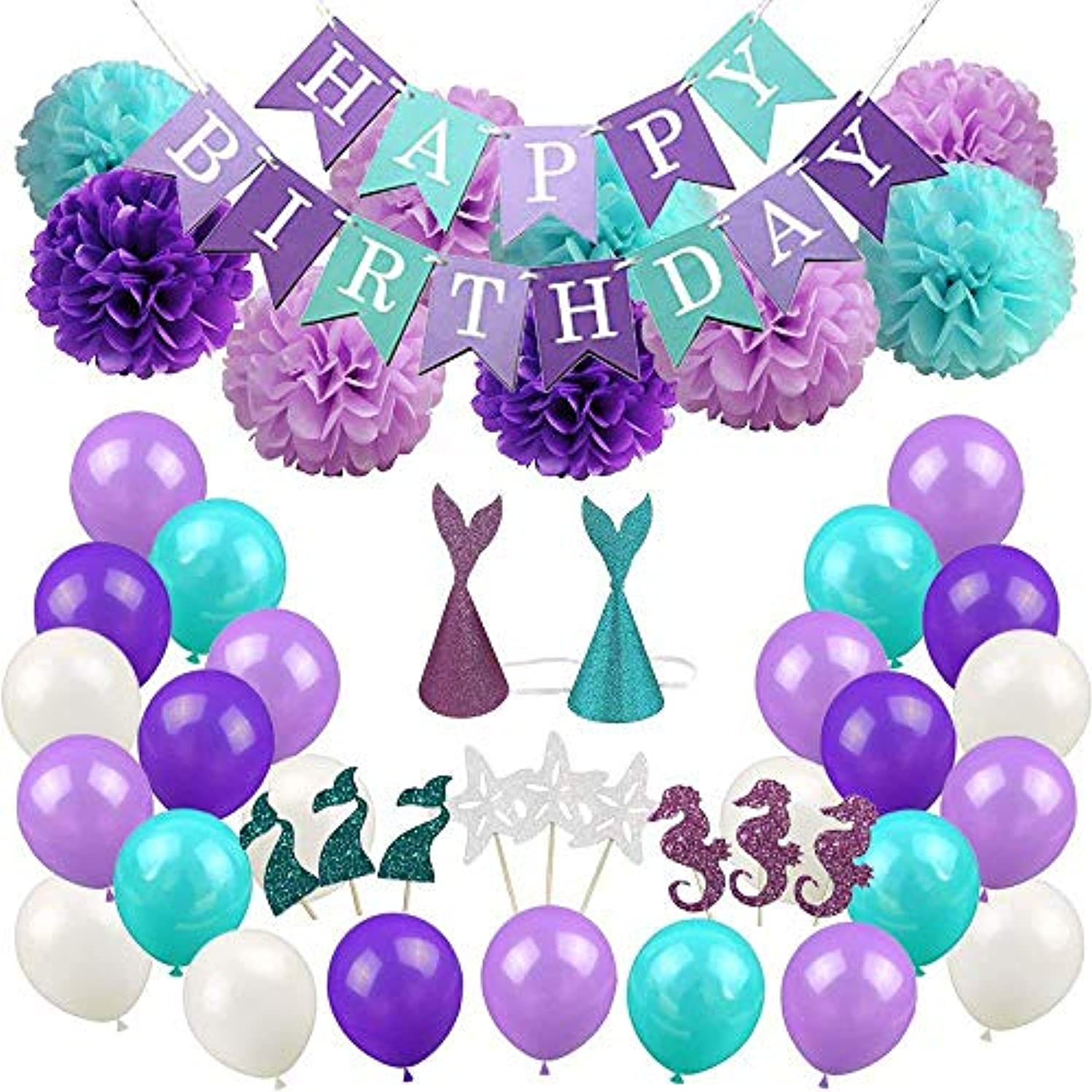 Happy Birthday Decoration Purple Blue Party Suppiles for Adults Girl Kid 76pcs Set Banner Balloons Paper Pompoms Flowers Hanging Swirl Decor Favors Baby Shower First Birthday by Mainiusi