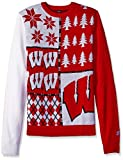 Klew NCAA Busy Block Sweater, Large, Wisconsin Badgers