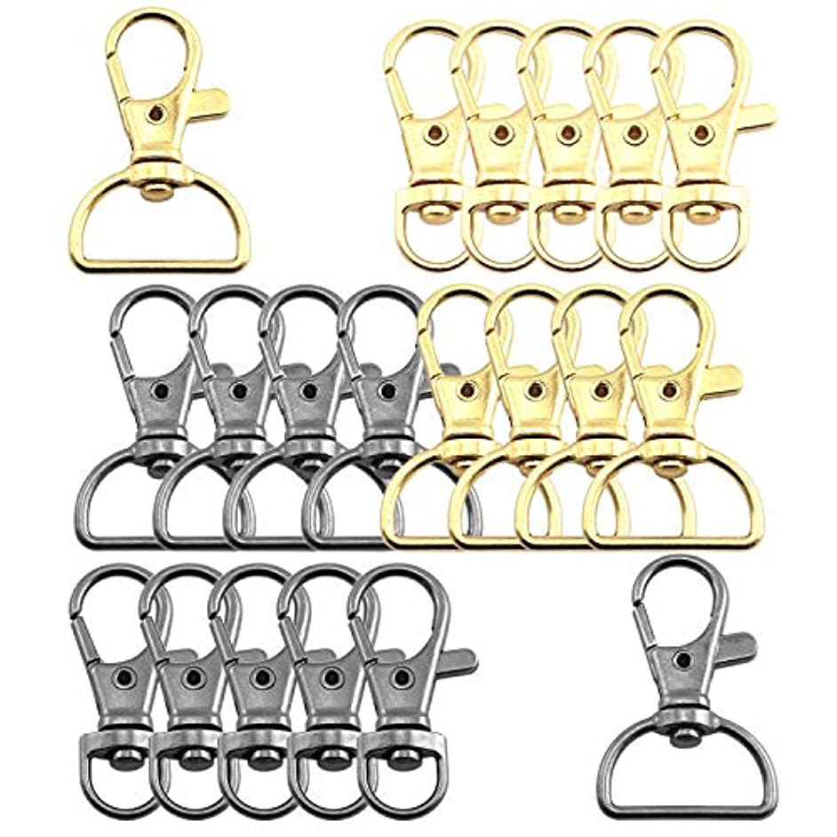 Lind Kitchen 20 PCS Lobster Clasp Swivel DIY Metal Accessories Lobster Clasps Clips Key Hook Split Key Ring Findings Clasps for Keychains Jewelry Making (35X8mm + 39X20mm) Black/Gold