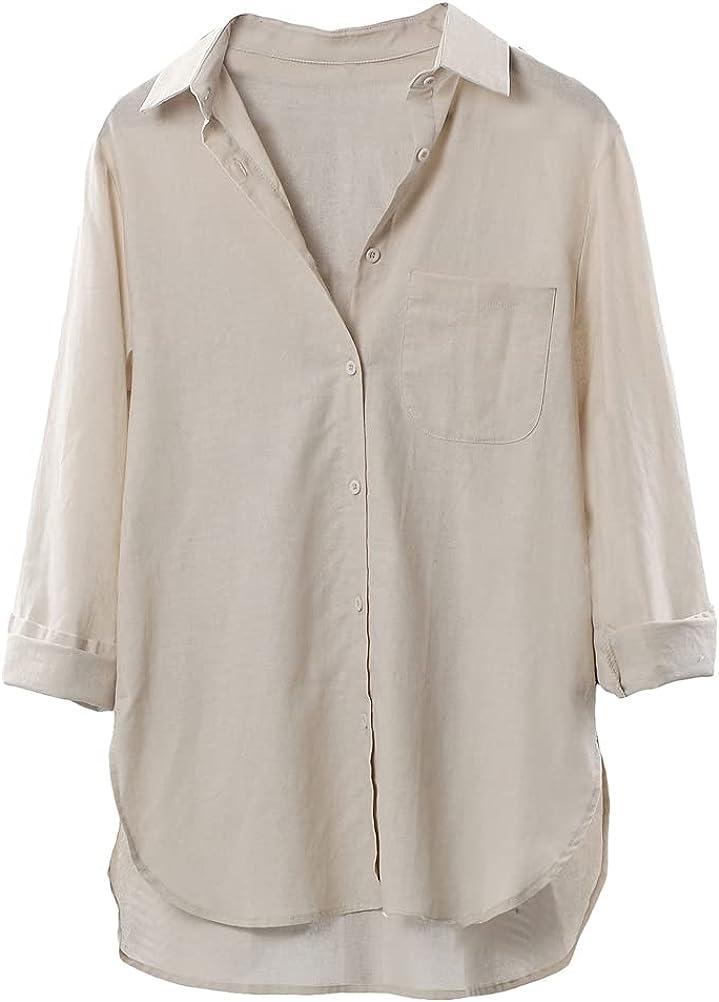 Mordenmiss Women's Linen Shirt Button Down Long Sleeve Blouse Casual V-Neck Tunic Tops
