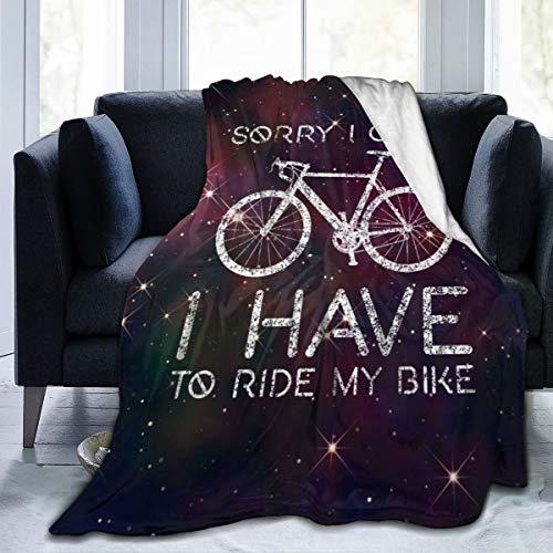 Manta de franela de forro polar con texto 'I Have To Ride Bike Cycling Galaxy Home', mantas suaves para niños y adultos, negro, 50'x40'