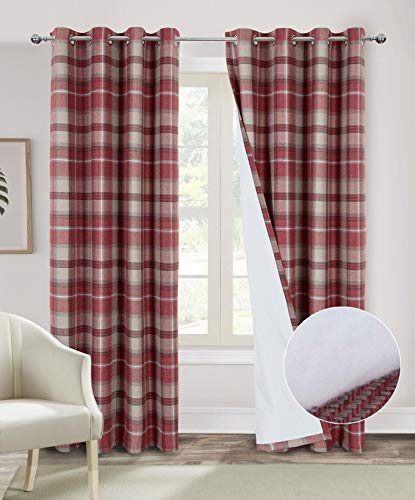Always4u Red Plaid Curtains Thermal Insulated Curtains 84 Inches Length Double Layer Thermal Curtains for Living Room Bedroom Noise Reducing Window Treatments 2 Panels