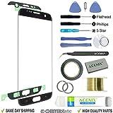 ACENIX Kit de réparation d'écran de rechange pour écran avant de verre + pour Samsung Galaxy S7 Edge Noir + 2 mm ruban et...