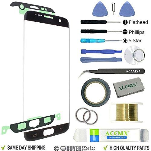 ACENIX® vervangend scherm voor glas buitenste Lens Repair Kit+ voor Samsung Galaxy S7 Edge zwart + 2mm Tape en Opening Pry Tools