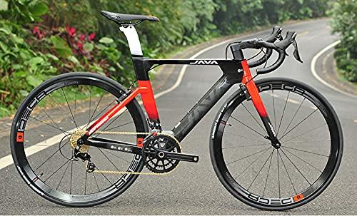 ASEDF Bicicleta de vía de Fibra de Carbono, Bicicleta de Carreras de Carreras de Carbono Completa 21 Velocidad con Juego de Grupo Shimano R7000 y Freno de Disco hidráulico Red