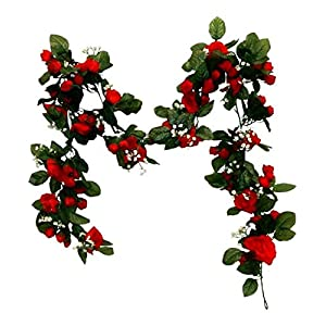 Floral Décor Supplies for 6ft Mini Rose Garland Artificial Fake Silk Flowers Wedding Arch Swag Backdrop for DIY Flower Arrangement Decorations – Color is Red