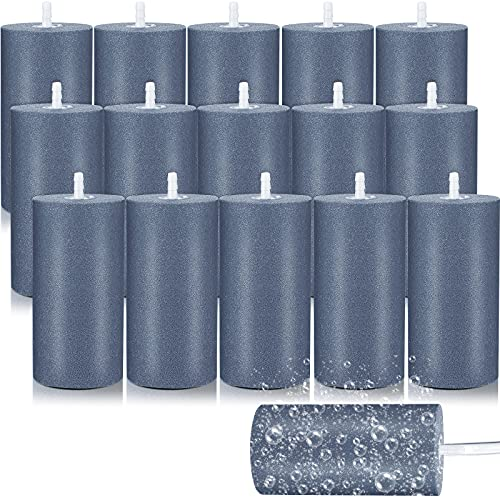 16 Pieces Air Stone Cylinder 4 Inch Large Mineral Bubble Diffuser Aerator Bubble Diffuser Cylinder Air Stones Diffuser Air Pump Accessories for Hydroponic Growing System Circulation Aquarium Fish Tank
