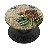 Blue Literary Paper Vintage Wallpaper Floral Wildflower Gift PopSockets PopGrip: Swappable Grip for Phones & Tablets