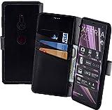 Suncase Book-Style kompatibel für Sony Xperia XZ3 Hülle (Slim-Fit) Leder Tasche Handytasche Schutzhülle Hülle (mit Standfunktion & Kartenfach - Bruchfester Innenschale) in schwarz