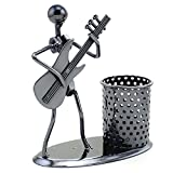 HAZOULEN Metal Art Pen Pencil Holder with a Musician Playing Music, Office Home Decoration Desk Container Desktop Organizer