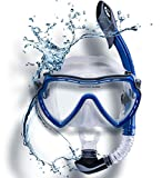 WATER FOXY Snorkel Set with Diving mask and Dry Snorkel - Single Lens Swim mask with Anti-Fog Protection and Tube with Purge Valve Anti-Splash Guard for Kid, Youth and Adult Divers