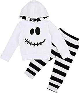 Toddler Baby Halloween Outfits Set Pumpkin Hoodie Tops Blouse +Striped Pants