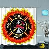 DAHALLAR Duschvorhang,Feuerwehr-Symbol mit Leiter Öffentlicher Dienst Gr&legende Werkzeuge von Feuerwehrleuten,personalisierte Deko Badezimmer Vorhang,mit Haken,180 * 180