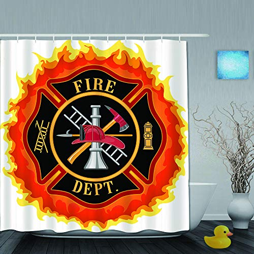 SUHOM Duschvorhang,Feuerwehr-Symbol mit Leiter Öffentlicher Dienst Gr&legende Werkzeuge von Feuerwehrleuten,personalisierte Deko Badezimmer Vorhang,mit Haken,180 * 180