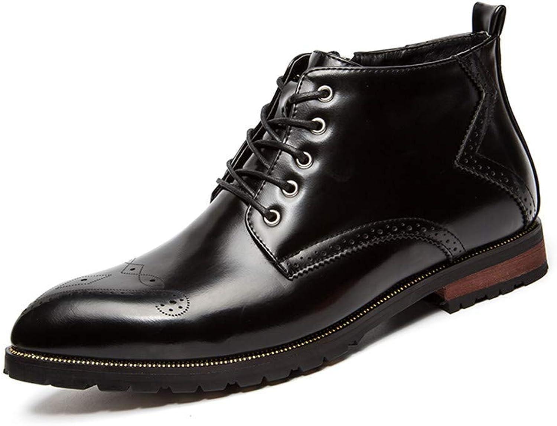 Fuxitoggo Herren-Stiefeletten Retro-Pinsel Farbe mit Reiverschluss oberen Seite geschnitzt Brogue Casual Classic Schuhe (Farbe   Rot, Gre   38 EU) (Farbe   Schwarz, Gre   42 EU)