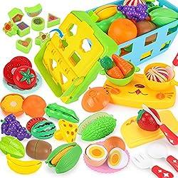 REMOKING 32 Stück Küchenspielzeug für Kinder, Essen Spielzeug Set mit Korb, Rollenspiel Lernspielzeug Set, Schneiden von Gemüse & Obst, Geschenk für Junge & Mädchen
