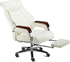 High-quality recliner Executive Recline Faux Leather Chair, High Back Reclining Recliner Swivel Computer Desk Study Retractable Footrest arm Chair Padded Office Chair (Color : White)