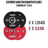 Suprfit Mini PU Bumper Plates Starter Set - gummierte Hantelscheiben für Techniktraining mit der...