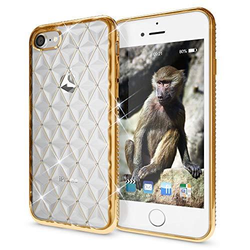 NALIA Brillantini Custodia compatibile con iPhone SE 2020/8 / 7, Glitter Copertura Protezione in Silicone Sottile Telefono Cellulare, Slim Cover Case Protettiva, Colore:Gold Oro
