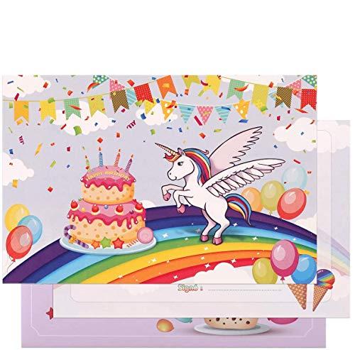 Kesote 24 Cartes d'Anniversaire Licorne avec 24 Enveloppes, Cartes d'invitation en français pour Anniversaire Enfants Filles