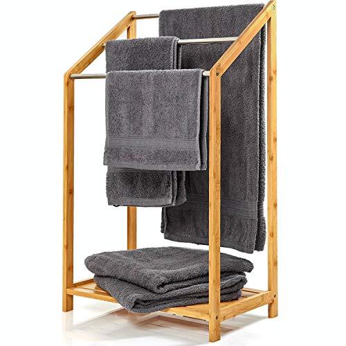 bambuswald© Portasciugamani da Terra in Legno di bambù Ecologico, Piantana Porta Asciugamani per Il Bagno, Porta salviette in Bamboo | 85x51x31 cm