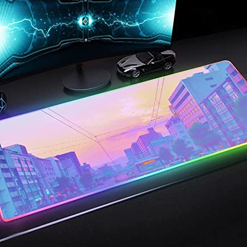 Mouse Pads Pink Girl Likes Scenery City Art RGB Comfortable Gaming Mouse Pad LED Laptop PC Keyboard Pad Desk Mat 24x12x0.15 inch