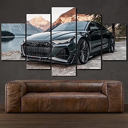 KOPASD Wandkunst Leinwandbilder RS7-R ABT Black Super Sports Auto Drucke Malerei auf Leinwand Wohnzimmer Wohnkultur 5 Stück-150x80 cm(Rahmenloser)