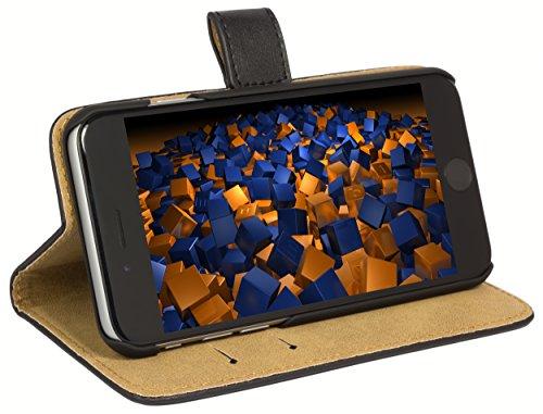 mumbi Echt Leder Bookstyle Case kompatibel mit iPhone 6 / 6S Hülle Leder Tasche Case Wallet, schwarz